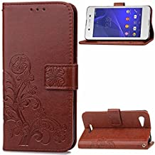 Sony Xperia E3 Case,Gift_Source [Card Slot] Flip Wallet Case Premium Soft PU Leather Folio Protective Shell Vintage Emboss Flower Cover Stand Feature & Wrist Strap for Sony Xperia E3 [Brown]