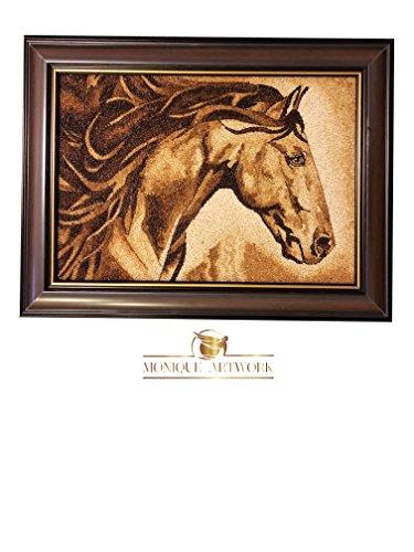 UNIQUE – HANDMADE Rice Painting Artwork – Original Horse – MONIQUE ARTWORK