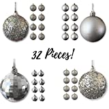 Christmas Ball Ornaments - Silver Ball Ornaments - Pack of 32 - Shatterproof Ball Ornaments - Silver Christmas Decorations
