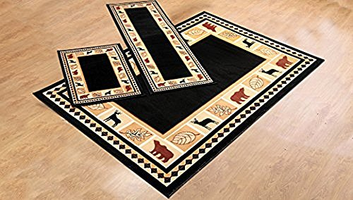 RUGS HOME Furnishmyplace Rustic Lodge Cabin Lodge Carpet Area Rug, Wildlife Bear Moose, (Wildlife Cabin)