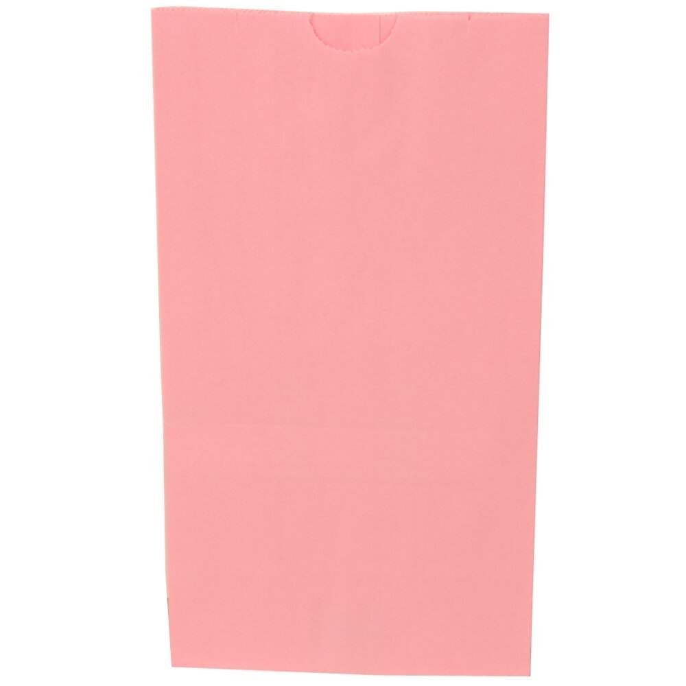 JAM Paper Kraft Lunch Bag - Large - 6'' x 11'' x 2 3/4'' - Baby Pink - 500/Box