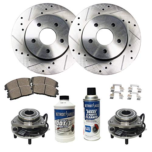 (Detroit Axle - Front Wheel Bearing & Hub, Drilled and Slotted Disc Brake Rotors w/Ceramic Pads for 98-05 Chevy S10 Blazer 4WD - [98-04 GMC Sonoma] - 97-01 Jimmy Bravada Hombre)