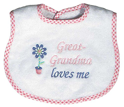 Raindrops Great-Grandma Loves Me Embroidered Bib, Pink by Raindrops