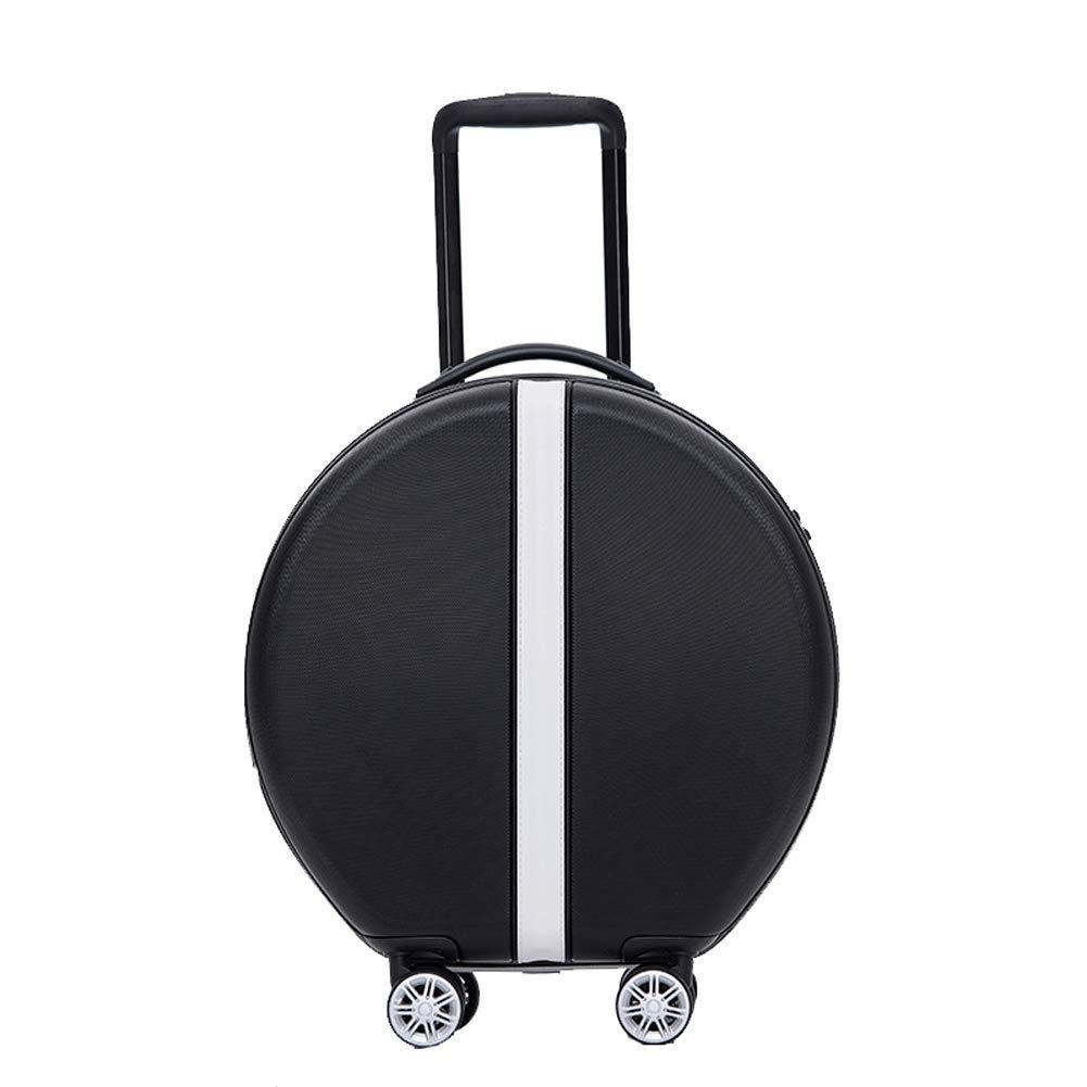 ラウンドABSハードシェル18インチ小さなスーツケース4輪回転マザーバッグ荷物ボードスーツケーススーツケーストロリーケースコードロック-black-L(12 B07T5DX214 black L(12in+18in)