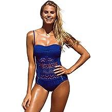 GRAPENT Women Lace Crochet Halter Strap One-Piece Bathing Suit Swimsuit Swimwear