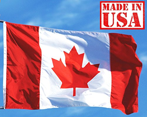 US Flag Factory 3x5 FT Canada Canadian Flag (Sewn Stripes) Outdoor SolarMax Nylon - Made in -