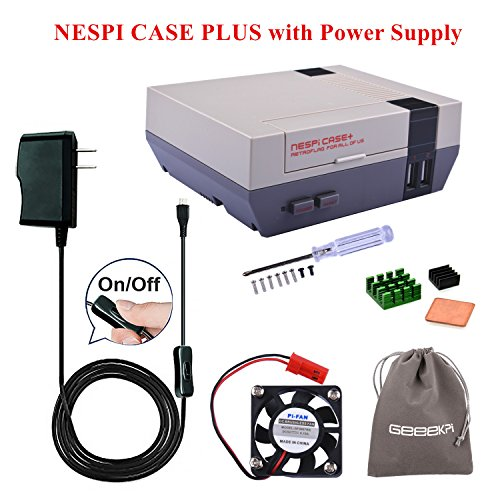 Retroflag NESPi Case+ Plus & 5V 2.5A US Power Supply with ON/Off Switch & Cooling Fan & Heatsinks & Flannel Bag for RetroPie Raspberry Pi 3/2 Model B & Raspberry Pi 3B+ (Case with Power Supply)