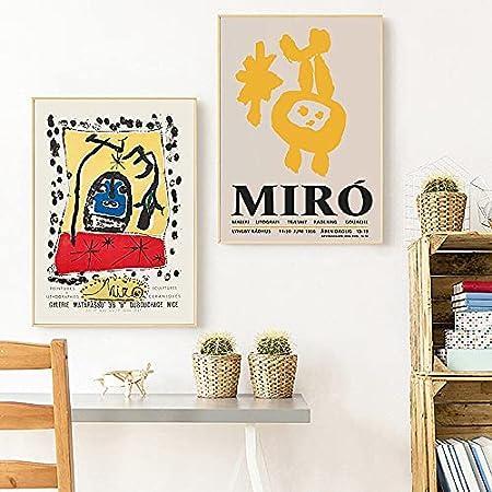 Joan Miró exhibió carteles y grabados abstractos retro nórdicos, cuadros murales famosos, lienzos familiares sin marco B 20x30cm