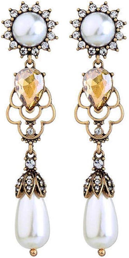 Pendientes Mujer, Perla De Primera Calidad, Pendientes De Gota De Piedras Preciosas De Cristal, Sin Níquel, Pendientes De Aleación