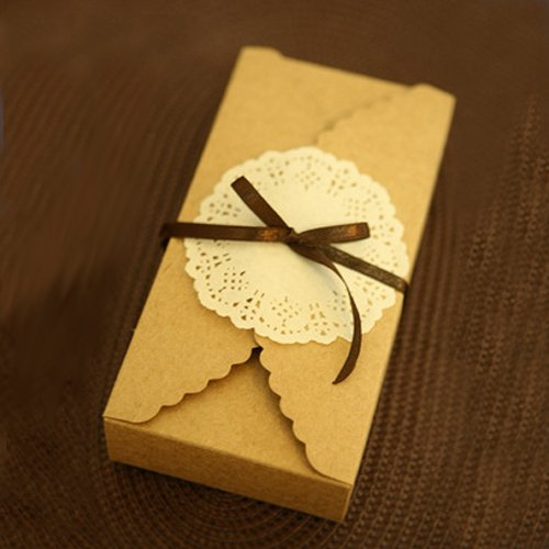 Saasiiyo Kraft Brown Paper Scalloped Small Box - Wedding/ Party Favor - Soap/ Cake/ Macaron/ Cookie Packaging - Gift Box 30pcs/lot
