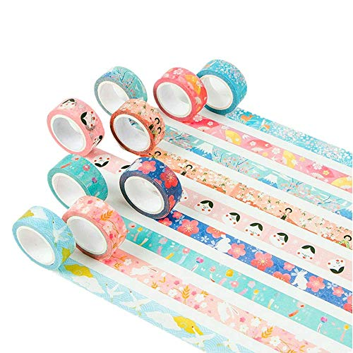 Kyoto Style Masking Washi Tape Set | 9 Rolls | 0.6 Inch (15mm) Wide | for Scrapbooks, Photo Frames, Bullet Journals, Arts and Crafts. (Floral Spring Package) for $<!--$7.39-->