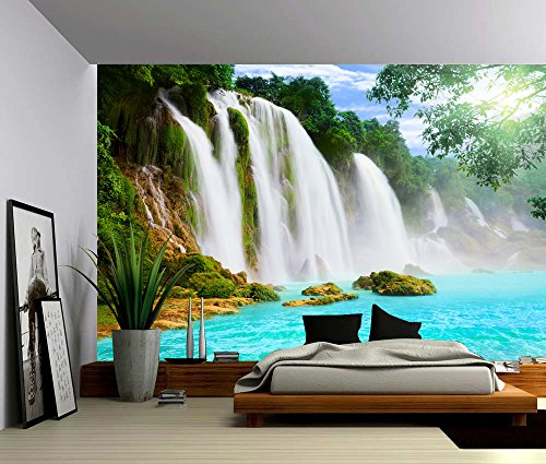 Picture Sensations Canvas Texture Wall Mural, Landscape Mountain Cliff  Waterfall, Self Adhesive Vinyl Wallpaper, Peel U0026 Stick Fabric Wall Decal    48x36 Part 34