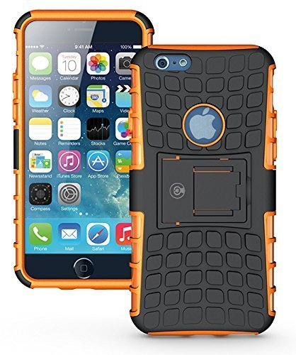 New Orange Rubber - iPhone 6S Case, iPhone 6 Case by Cable and Case - [Heavy Duty] Tough Dual Layer 2 in 1 Rugged Rubber Hybrid Hard/Soft Impact Protective Cover [with Kickstand] Shipped from The U.S.A. - Orange