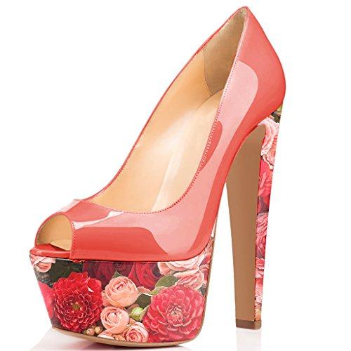 Fsj Donna Superbo Scarpe Tacco Alto Peep Toe Con Plateau Scarpe Da Sposa Per Matrimoni Taglia 4-15 Us Floreali