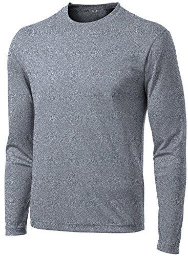 71bfb926c50a Joe's USA DRI-Equip Long Sleeve Moisture Wicking Athletic Shirt -Large-VintageHeather