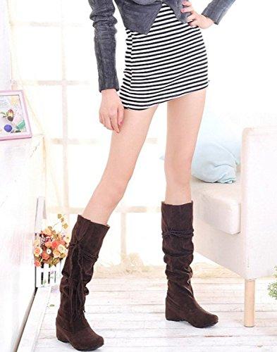 Minetom Femmes Hiver Bottes Ébouriffer Mat Surface Hauteur Croissante Chaussures Avec Gland Chaussures Marron wvzRW