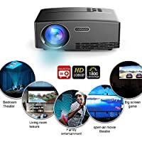 Projector 1800 Lumens 180 LED HD Mini Home Video Projector for Home Outdoor Theater, Double HDMI & USB VGA Support Blu-ray Laptops Tablets Smartphones(HDMI Cable Included)