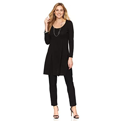 68600c964465d Slinky Brand Carwash-Hem Sweater Tunic Pant Set Scoop Neck Black M New 514-