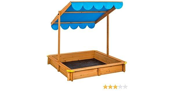TecTake Arenero con techo regulable cajón de arena jardín juego ...