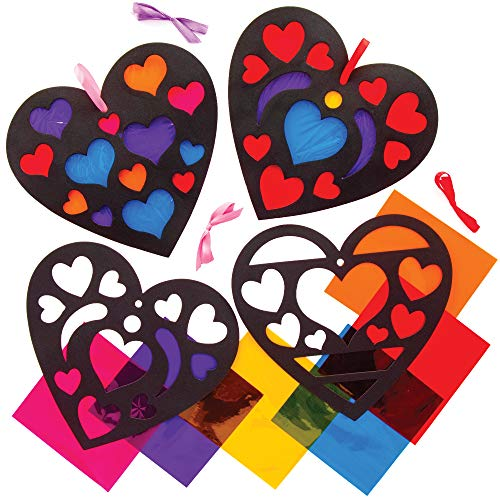 Baker Ross AT551 Heart Stained Glass Effect Decoration Kits – Pack of 6, Creative Valentine's Day Art and Craft Supplies…