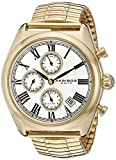 Akribos XXIV Men's AK827YG Quartz Movement Watch with Silver Dial and Yellow Gold Expansion Stainless Steel Bracelet