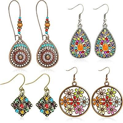 4 Pairs Bohemian Vintage Dangle Earrings Retro Rhinestone Earrings Boho Dangle Drop Earrings for Women Girls