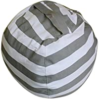 Ehonestbuy Kids Bean Bag Chair Stuffed Animal Storage, Stripe Cotton Canvas Toy Organizer for Kids Bedroom, Storage Solution for Plush Toys, Towels & Clothes (Big - Circumference 2M, Gray)