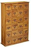 Leslie Dame CD-456 Solid Oak Library Card File Media Cabinet, 24 Drawers, Oak