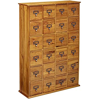 LDE LESLIE DAME Leslie Dame CD 456 Solid Oak Library Card File Media Cabinet ,