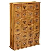 LDE LESLIE DAME Leslie Dame CD-456 Solid Oak Library Card File Media Cabinet, 24 Drawers, Oak