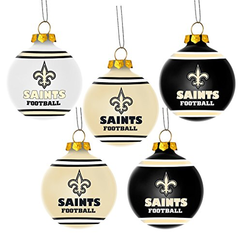NFL New Orleans Saints Shatterproof Ball Ornament (Pack of 5), Black ()