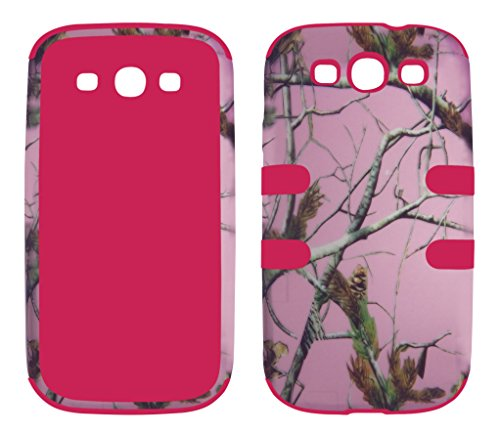 Samsung Galaxy S3 Camo - Hybrid 3 in 1 Pink Camo Pine Samsung Galaxy S3 / S 3 / III i9300 High Impact Shock Defender Plastic Outside with Soft Silicon Inside Drop Defender Snap-on Cover Case