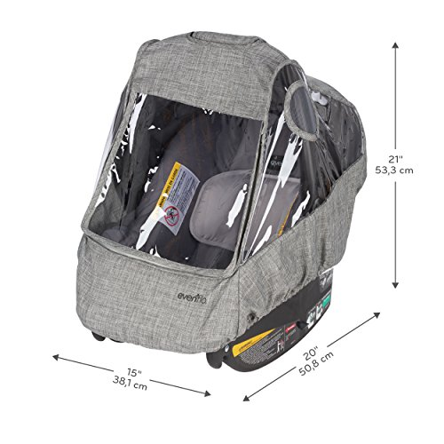 Evenflo Infant Car Seat Weather Shield and Rain Cover, Grey Melange by Evenflo (Image #8)