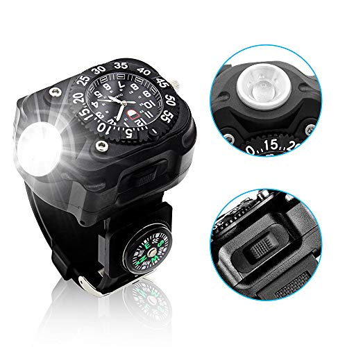 Aifulo Rechargeable LED Watch Wrist Light, Waterproof 350 Lumens Torch with Compass Tactical Flashlights Birthday for Outdoor Running, Hiking, Camping, Biking, Patrol