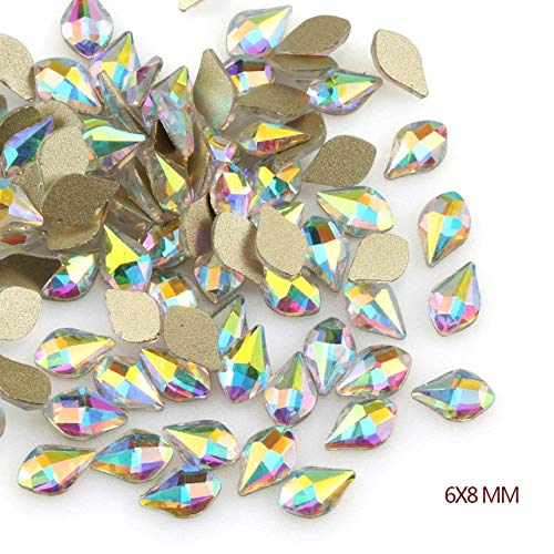 - Nail Art Supplies - 20Pcs/Pack Nail Rhinestones Personalised Flat Shapes Glass AB Colorful Stones For 3D Nails Decoration - Rhinestones For Nails - 6x8mm