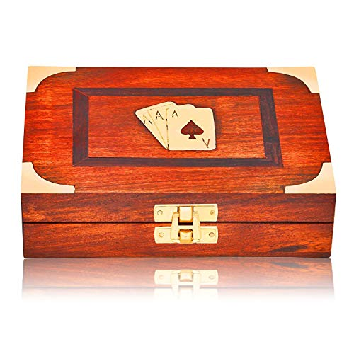 (Unique Birthday Gift Ideas Handcrafted Classic Wooden Playing Card Holder Deck Box Storage Case Organizer With 2 Sets of Premium Quality 'Ace' Playing Cards Anniversary Housewarming Gifts Him & Her)