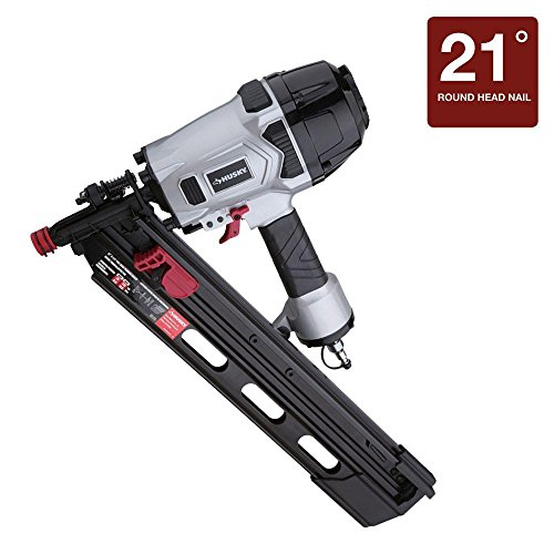 Husky Pneumatic 3-1/2 in. 21 Degree Full-Head Strip Framing Nailer Nail Staple Gun DPFR2190