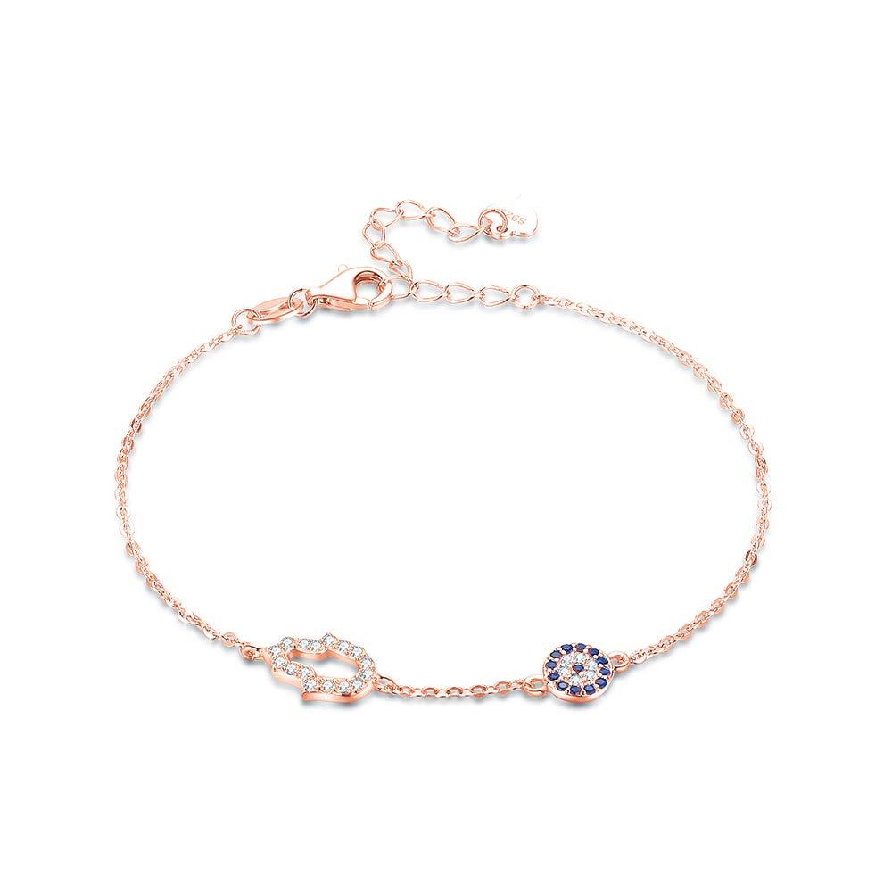 TONGZHE Bracelet Main de fatma en Argent Sterling 925 avec zircone cubique et /œil d/évil Rose 16,5 cm 3,8 cm