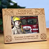 Personalized Fire Department Wood Picture Frame, Holds 4x6 or 3x5 photo