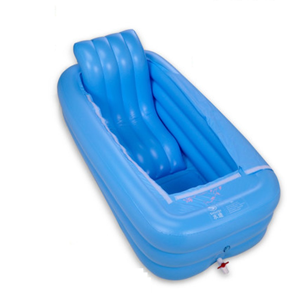 ying Portable Adult Folding Inflatable Bathtub Large Space Thick Cotton Bottom Comfortable Insulation ( Color : Blue , Size : 165*85*45cm ) du yanyan shop