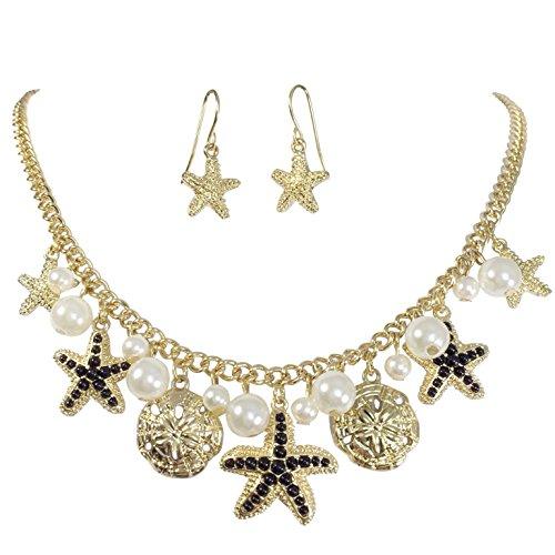 Gypsy Jewels Dainty Starfish Charm Imitation Pearl Dangle Gold Tone Statement Necklace Earring Set (Black)