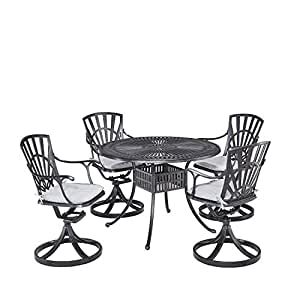 Home Styles 5560-305C 5-Piece Dining Set Cushions, Charcoal Finish
