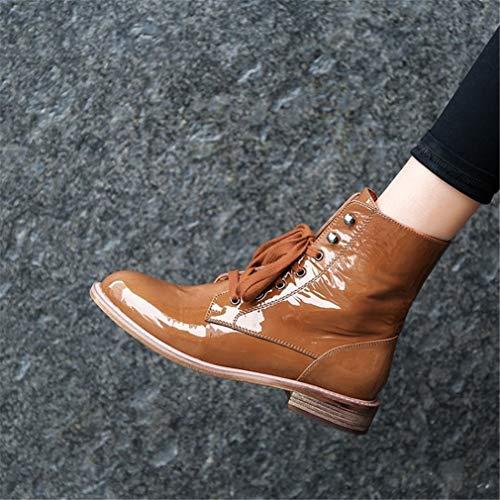 Inglaterra Otoño Patentes Negro Yan Botas Martin Al Zapatos Mujer De Para Caminar Marrón Botines Invierno Aire Cuero Libre Planas wwBIYxq