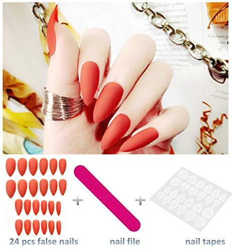 editTime 24PCS Solid Colors Acrylic Stiletto False Nails