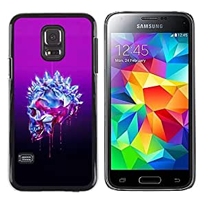 Plastic Shell Protective Case Cover || Samsung Galaxy S5 Mini, SM-G800, NOT S5 REGULAR! || Bling Skull Purple Crystal Art Death @XPTECH