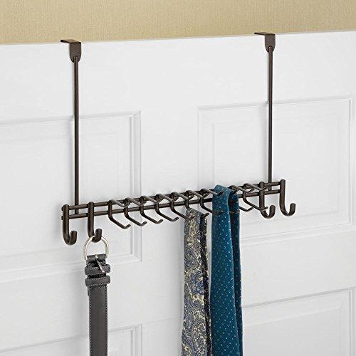 mDesign Metal Over Door Hanging Closet Storage Organizer Rack for Bedroom, Closet, Bath - Holds Men's/Women's Ties, Belts, Slim Scarves, Jewelry, Accessories - 4 Large Hooks, 20 Small Hooks - Bronze