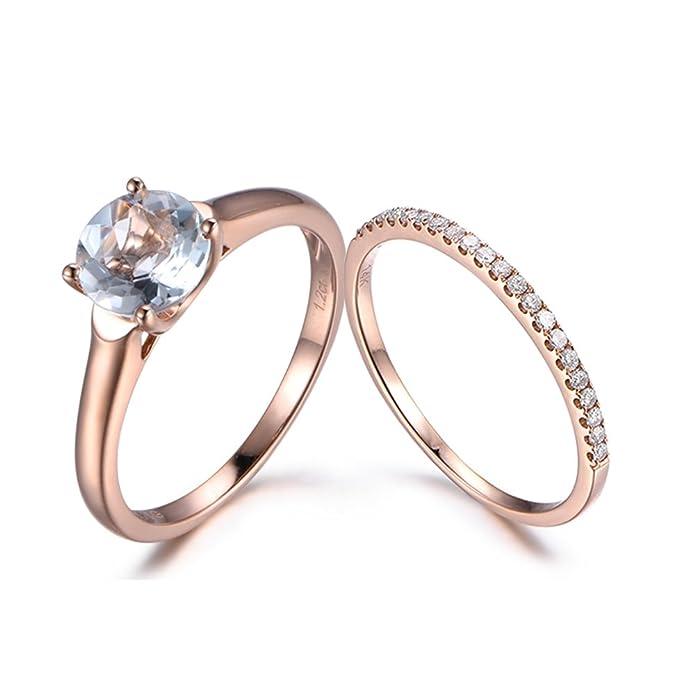 46ae626fdc981 Amazon.com: Aquamarine Wedding Ring Set 7mm Round Natural Blue ...