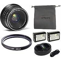 7artisans 25mm F1.8 Manual Focus Prime Fixed Lens for Sony Emount Cameras - Black APS-C Wasabi Battery Bundle