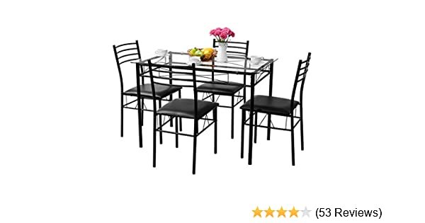 Amazon.com   Tangkula Dining Table Set 5 Pieces Home Kitchen Dining Room  Tempered Glass Top Table And Chairs Breaksfast Furniture Dinning Table With  Chairs, ...