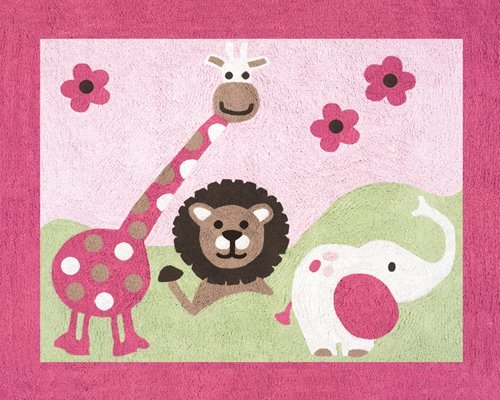 Sweet Jojo Designs Pink and Green Jungle Friends Accent Floor Rug
